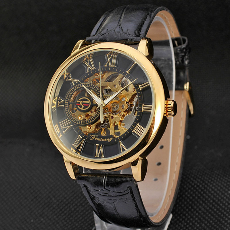 Cool font b Men b font Leather Skeleton Automatic Mechanical Stainless Steel Sport Wrist font b