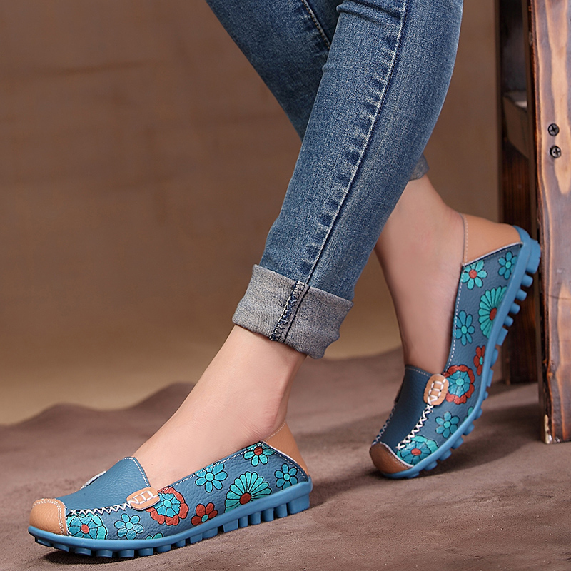 Fashion Women Flats Genuine Leather Loafers Summer Women Casual Ballet Shoes Slip On Moccasins Zapatos Mujer Plus Size 34-44 casual ballet leopard pattern non leather flat shoes women fashion boat shoes zapatos mujer tacon sapato flats large size 4 16
