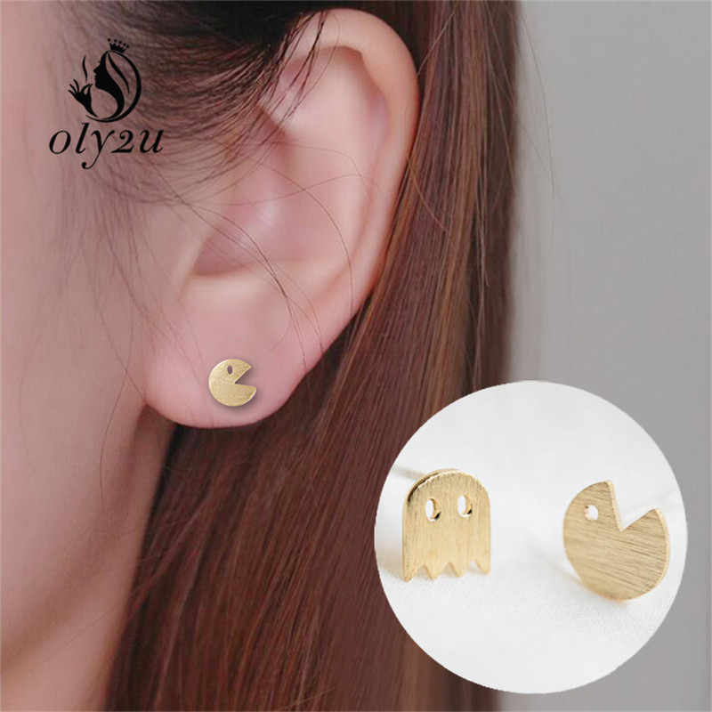 Oly2u 2016 New Fashion Tiny Pac Man Silver plated Stud Earrings Cute Ghost Animal Earrings for Women Jewelry Ear Studs ED014