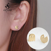 Oly2u New Fashion Tiny Pac Man Silver plated Stud Earrings Cute Ghost Animal Earrings for Women Jewelry Ear Studs ED014