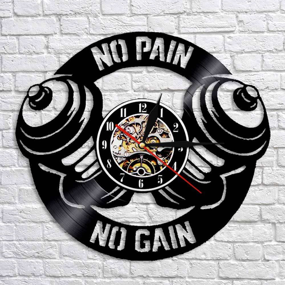Gym Wall Clock Workout Dumbbell Silhouette Vinyl Record Clock No Pain No Gain Wall Art Sport Decor Gift For Bodybuilder