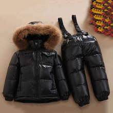 Children Winter Warm Clothing Big Nature Fur Hoodie Boys -30 Degree Russia Snowsuit 90% White Duck Down Jacket Girls Suit