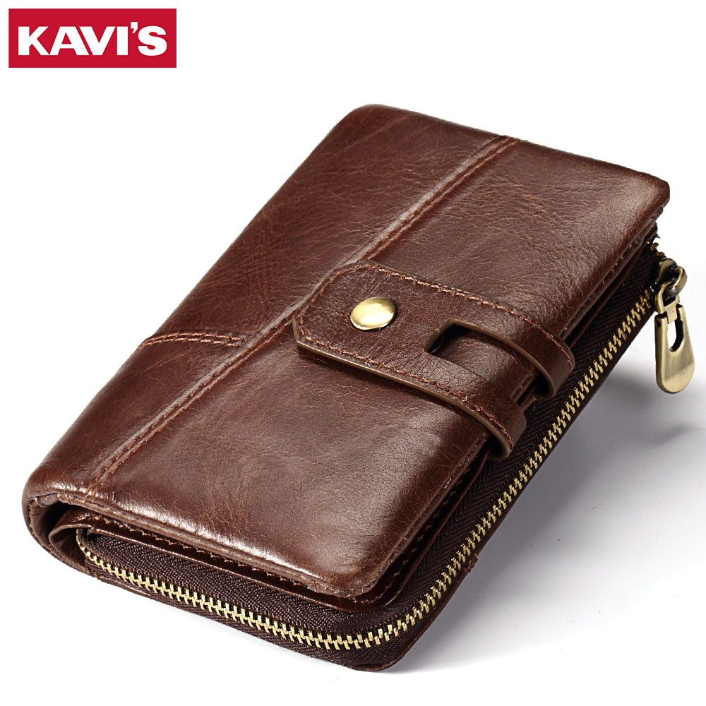 KAVIS Genuine Leather Wallet Men Card Holder and Coin Purse Rfid Magic Walet PORTFOLIO Portomonee Mini Vallet Small Male Hasp kavis brand crazy horse genuine leather wallet men wallets coin purse with card holder mini male with bag portomonee small walet