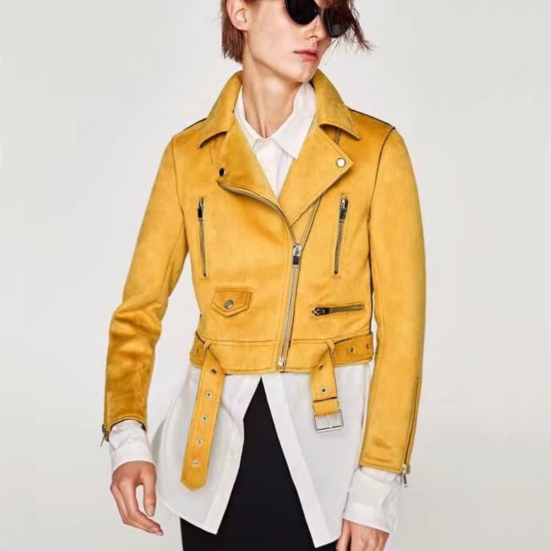 2018 New Autumn Winter Women Mortocycle Soft Suede Faux Leather Jackets Lady Fashion Matte Biker Zippers