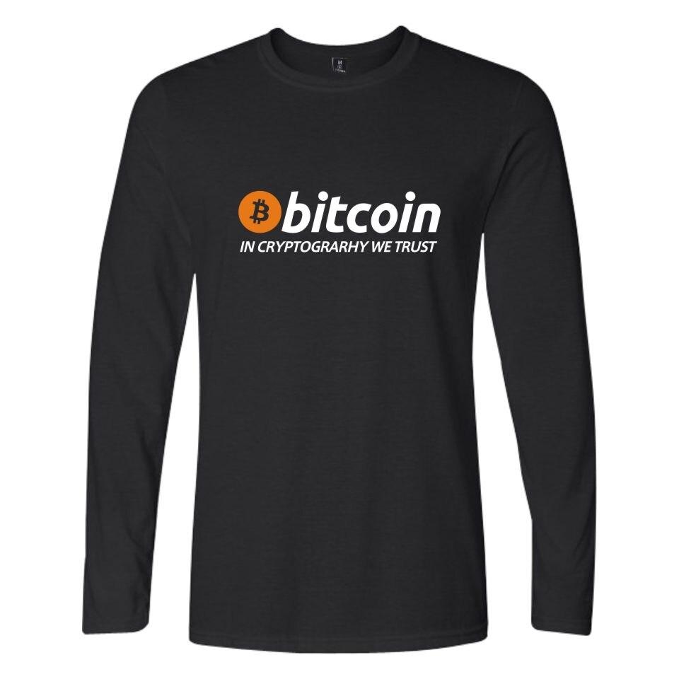 Nouveau Bitcoin en Cryptograrhy nous faisons confiance à T Shirt décontracté femmes casual Bitcoin vêtements imprimer Bitcoin t-shirts à manches longues