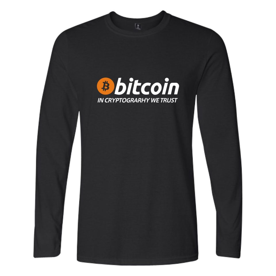 Nueva bitcoin en cryptograrhy confiamos camiseta hombres mujeres casual bitcoin ropa imprimir bitcoin manga larga Camisetas Tees