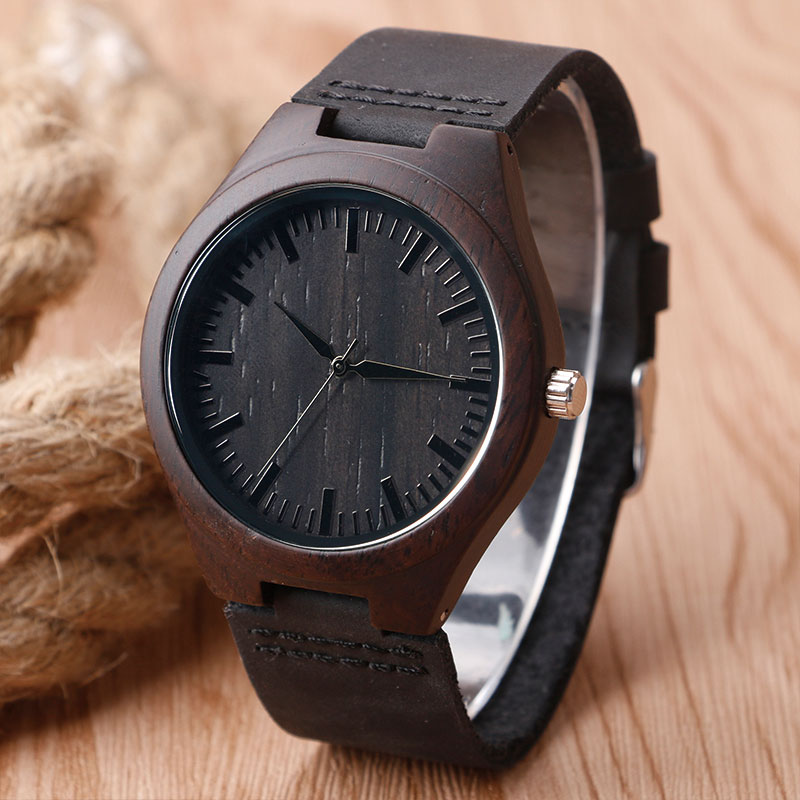 Hot Sale Men s Black Natural Wooden Watch Genuine Leather Wristwatch Good Quality Quartz Wristwatches Wood