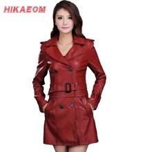 Женский кожаные плащ-куртка с отстегиваемым низом, мода 2015, большие размеры