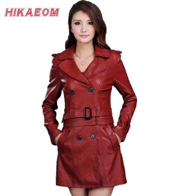 168612898de69 Leather Jacket Women Top Fashion New Plus Size Slim Dual Use Pu Removable  Ladies Faux Synthetic Long Leather Trench Coat Female