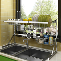 Multi use kitchen stainless steel storage & hanger Sink Drying Rack stand racks for cup Bowl plate spices with Removable hook