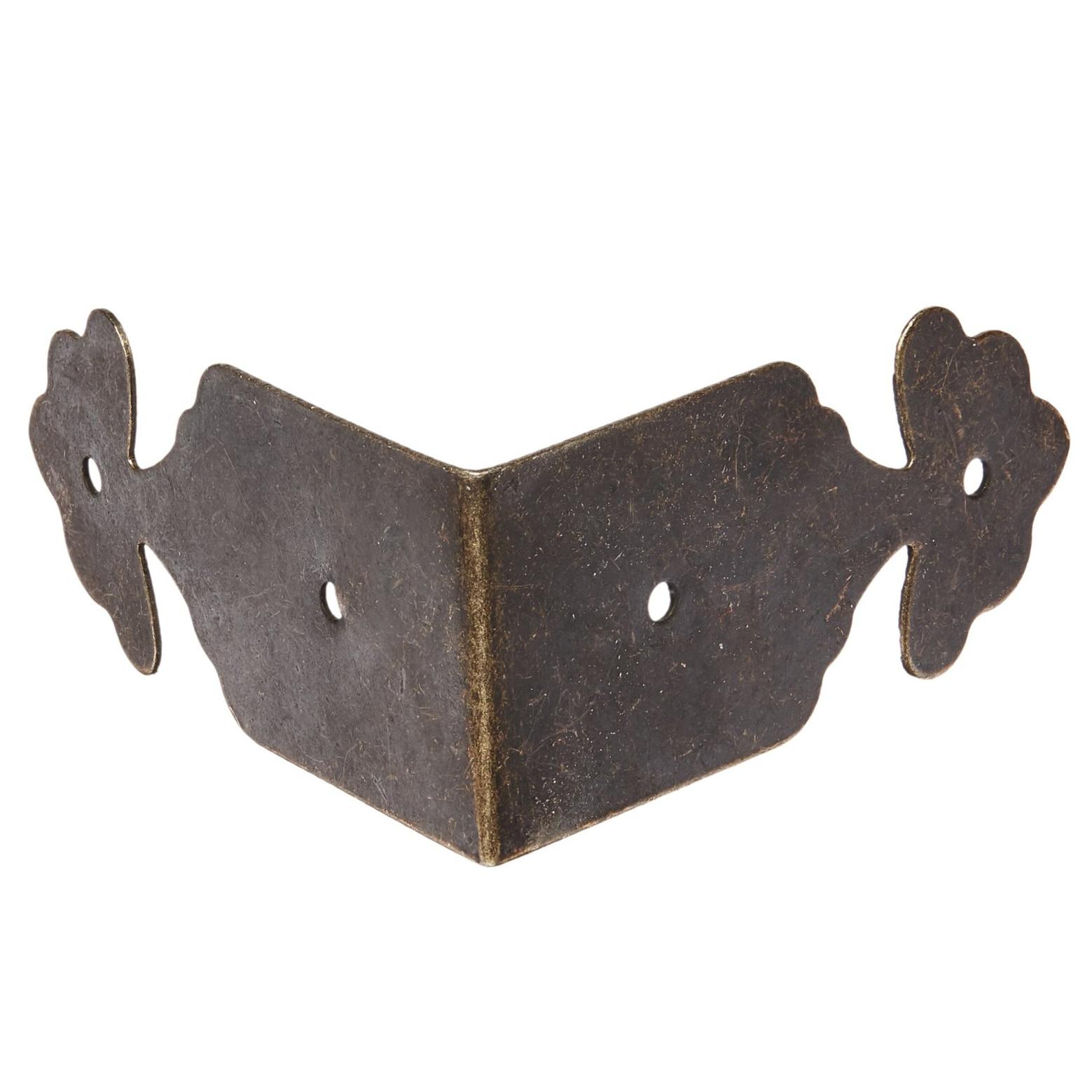 8pcs Right Angle Furniture Edge Corner Protector Bracket Bronze Tone two tone raw edge crop jeans