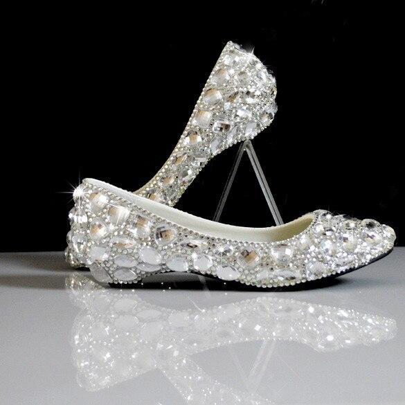 white rhinestone wedges wedding shoes bridal dress shoes shallow mouth shoes big plus size 35 44