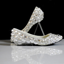 white rhinestone wedges wedding shoes bridal dress shoes shallow mouth shoes big plus size 35-44