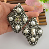 Fashion New Style 5Pcs Crystal Rhinestone Paved Charm Jewelry Pearl Pendant For Making Necklace