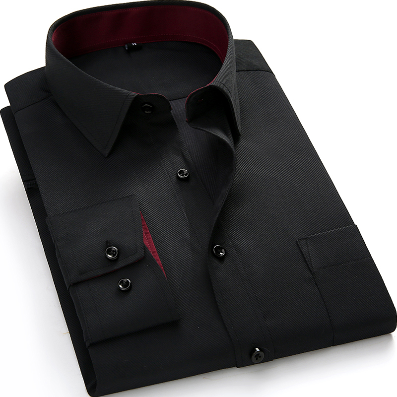 2018 Spring New Formal Men Dress Shirts Long Sleeve Fashion Collar Solid Color Popular Business Men Work Shirts with Pocket