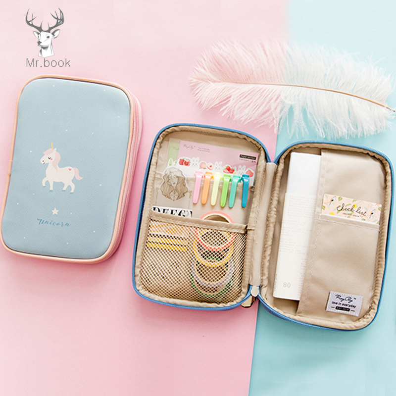 Cute Unicorn Pencil Case Creative PU Leather Pen Case Portable Travel Passport Handbook Storage Bag Cute Stationery Pencilcase south korea stationery creative cartoon cute kitten pu wallet key bag storage material
