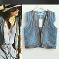 Embroidered denim blue vest high quality 2016 spring / summer / autumn denim vest short paragraph retro heart back