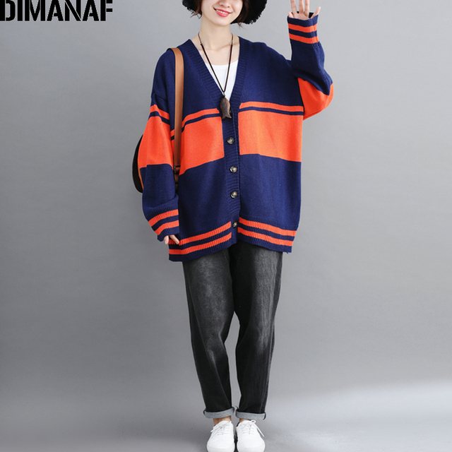 DIMANAF Women Sweater Knitting Cardigan Autumn Winter Ladies Outerwear Plus Size Female Clothes Striped Panelled Casual 2018 New