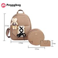 3pcs Set New Design Women PU Bags Tie Backpack Round Small Shoulder Crossbody Card Bag For