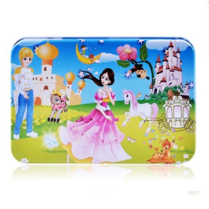 Cxzyking железный ящик 60 шт головоломки деревянные дети мультфильм деревянные развивающие игрушки животных для девочек и мальчиков