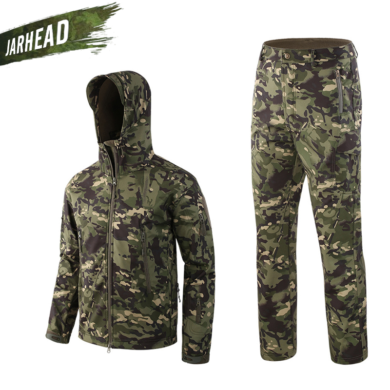 Outdoor Sport Camouflage Hunting Cloth Men Shark Skin Soft Shell Coat Lurker TAD V4 Tactical Military Spring Jacket+Pants Suits lurker shark skin soft shell v4 military tactical jacket men waterproof windproof warm coat camouflage hooded camo army clothing
