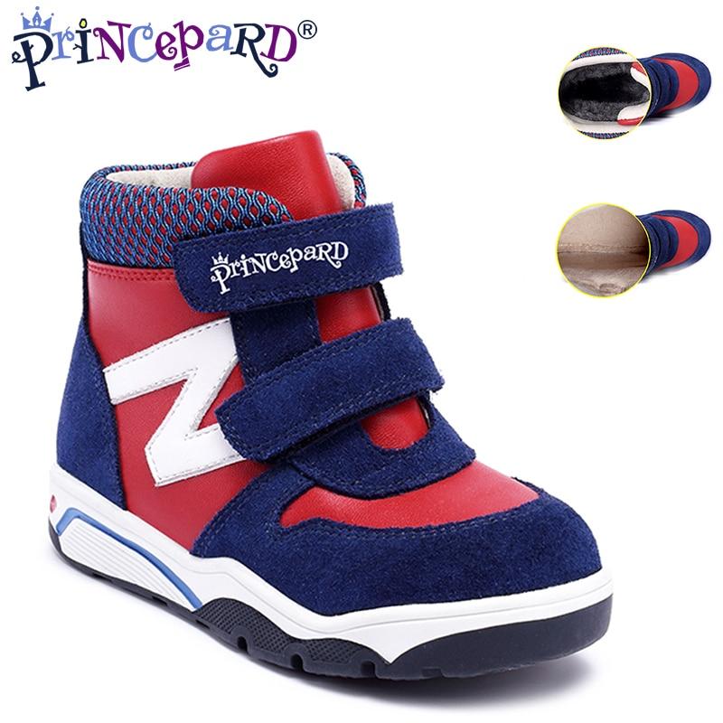 PRINCEPARD chaussures orthopédiques d'automne hiver en cuir véritable pour enfants chaussures de sport bleu marine pour garçons baskets en velours et fourrure