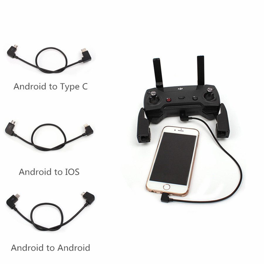 Sunnylife Spark Mavic Air Pro Mini Remote Control Data Cable Tablet Phone Converting Line Connector Android To IOS Type-C