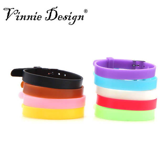 Colorful 20cm Silicone Bracelet Silica Gel Wristbands 8mm Slide Charms Rubber Wrap Bracelets For Women Chindren
