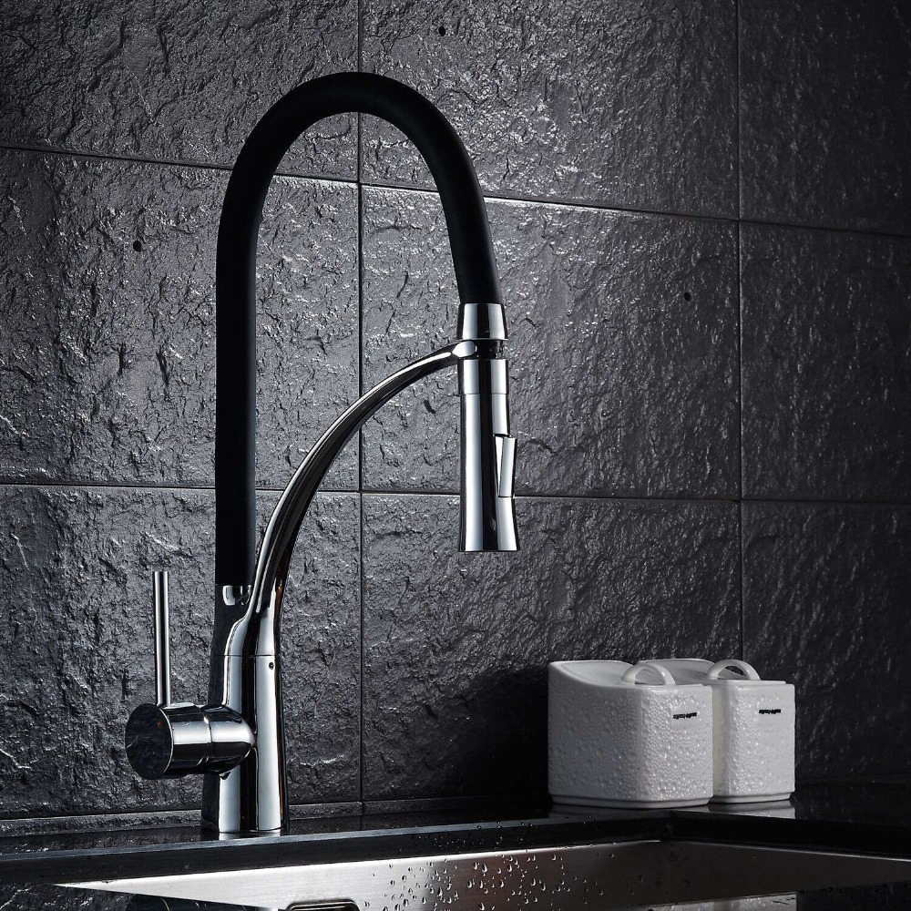Chrome Finished Swivel Spout Flexible Sprayer Kitchen Vessel Sink Mixer Tap Hot and Cold Water Kitchen Faucet XR8052 led spout swivel spout kitchen faucet vessel sink mixer tap chrome finish solid brass free shipping hot sale