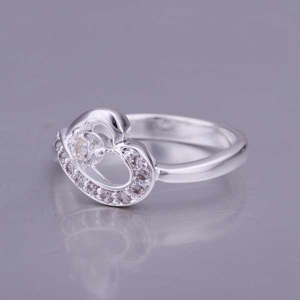 Leading fashion personality simple and elegant  inlaid stone ring silver heart-shaped CZ Ring silver  classic models R150