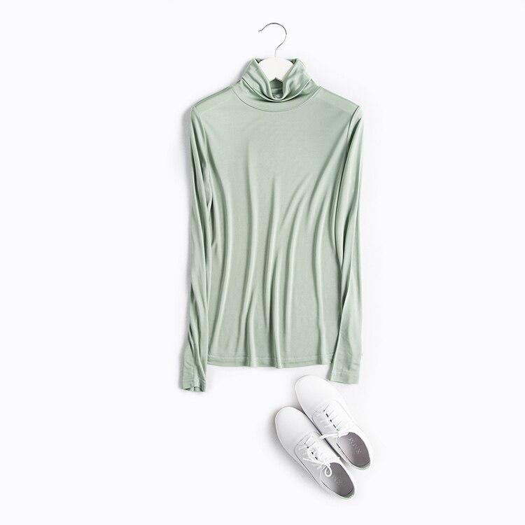 Ženska majica 100% Stvarna svila Osnovna majica s dugim rukavima - Ženska odjeća - Foto 6
