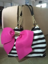 Fashion pink quilted bowknot women chain bags women handbag