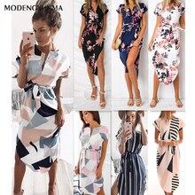 Горячая Распродажа женские миди платья для вечеринок НОВЫЕ геометрические принты летнее пляжное платье в стиле бохо Свободное платье с рукавами летучая мышь Vestidos размера плюс
