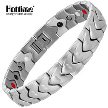 Hottime Men Bio Magnetic Germanium 316L Stainless Steel Bracelets & Bangles Silver Heart Design For Lover's Gift Jewelry 10260(China)
