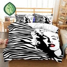 HELENGILI 3D Bedding Set Marilyn Monroe Print Duvet cover set lifelike bedclothes with pillowcase bed home Textiles #LX-21