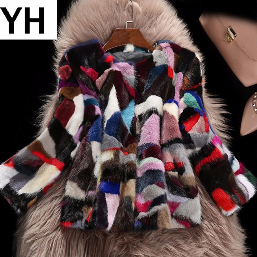 Réel 2018 Veste Style Vison Courte Fourrure Color1 Véritable Femelle Chaude Coloré Femmes De Manteau Nouveau Vente Hiver Chaud IwXx87rwq