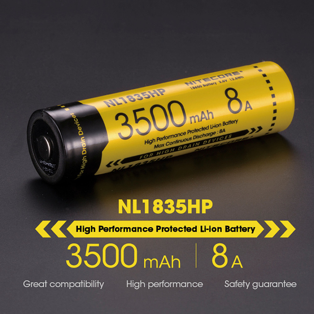 Top sales Nitecore NL1835HP High Performance 18650 3500mAh 3.6V 12.6Wh 8A Protected Li-ion Button Top Battery High Drain Devices