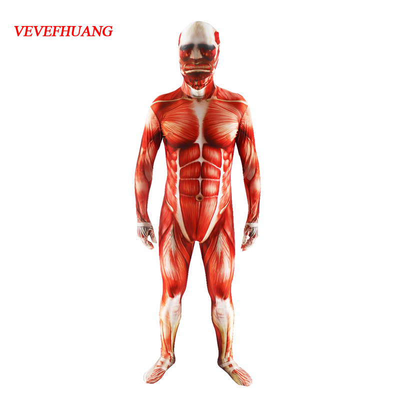 VEVEFHUANG Attack On Titan Men Cosplay Costumes Titans Muscle Muscular Suit Bertolt Hoover Lycra Flesh Zentai Halloween Costume