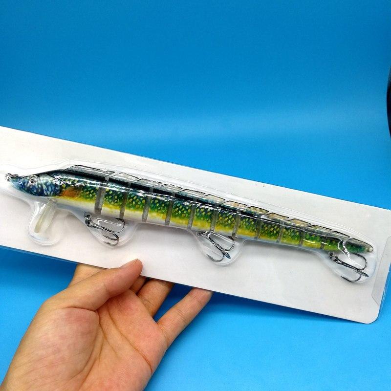 HOOFISH 1 шт. 13 сегментов рыболовная приманка 46 г/22,5 см 3 цвета пластик искусственный рыболовный воблер инструменты с 3X усиленными крючками - Цвет: 1pcs dark