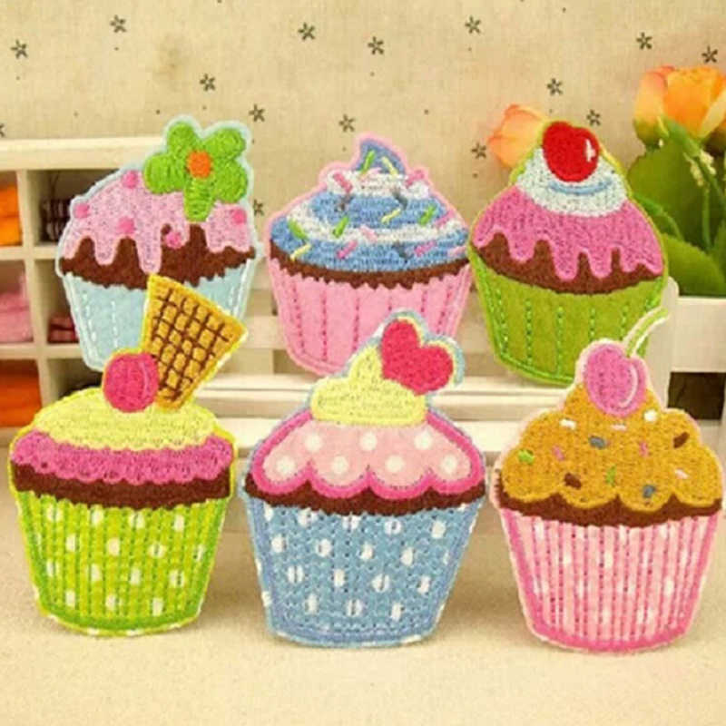 6 Colors Lovly Ice Cream cupcake Applique Embroidery Iron On Patch Sew On Patches Craft Sewing Repair Embroidered