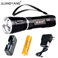 Rechargeable tactics LED Flashlight 18650 zoom torch waterproof flashlights T6 led Zoomable light For 18650 lithium Battery