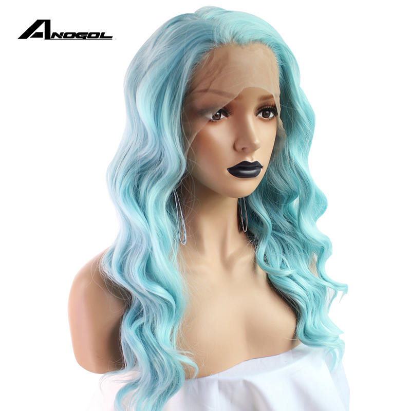 Anogol High Temperature Fiber Water Wave Free Part Full Hair Long Wigs Mint Green Synthetic Lace