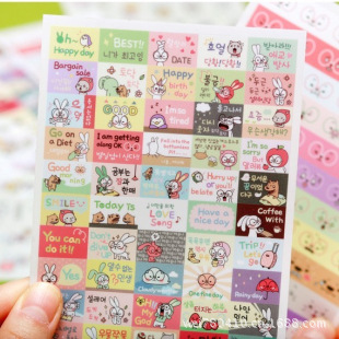 6sheets/1set Transparent diary deco kawaii planner Stickers cartoon Hong2 Rabbit ver3/self stick/ post it note/Decoration