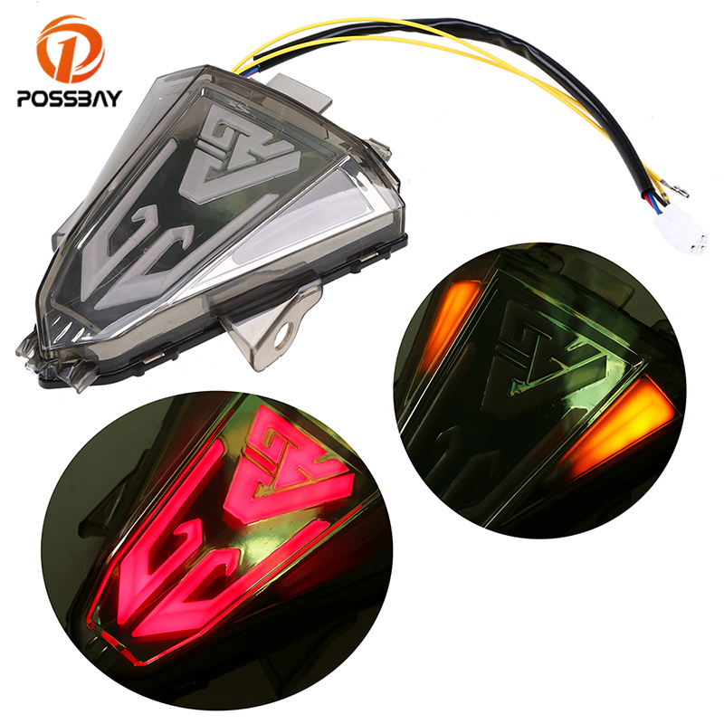 POSSBAY Motorcycle Taillight Signal Brake Rear Lights 12V LED Integrated Turn Signal Light Luces For Yamaha YZF R15 2014-2016