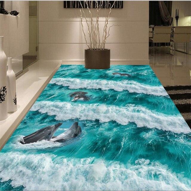 Beibehang Custom Flooring 3d Large Three Dimensional Beach