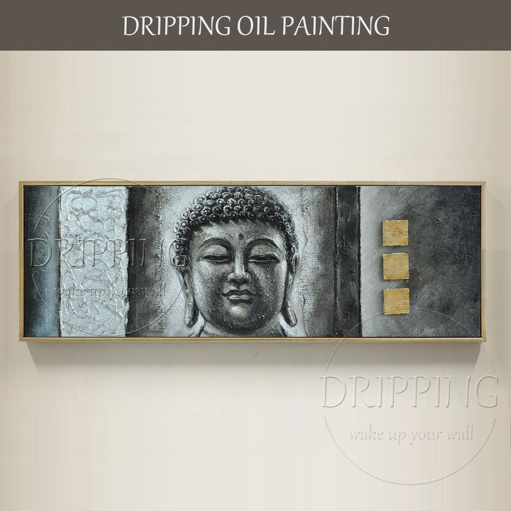 Artist Hand-painted High Quality Buddha Figure Oil Painting on Canvas Large Canvas Textured Buddha Oil Painting for Living Room