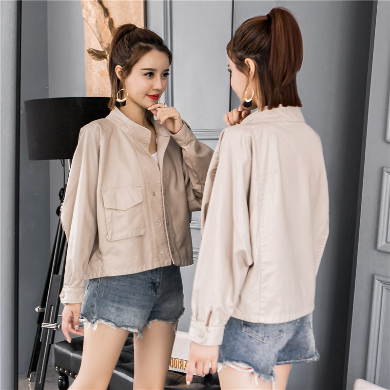 Women's   Leather   Jacket 2019 New Fashion Casual Solid Short Faux   Leather   Jackets Female Big Pockets Pu   Leather   Coat S M L
