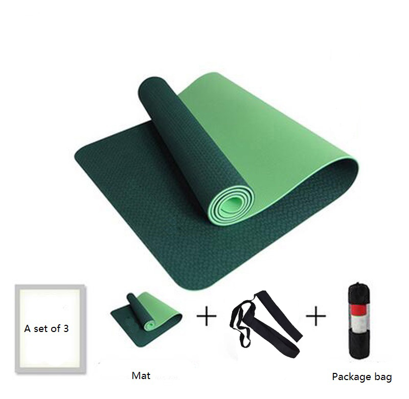 Hotest No-slip Yoga Mat 6mm TPE Sport Yoga Mat For Fitness Pilates Gymnastics Colchonete Pad 183*61*0.6cm With Yoga Bag Strap 1