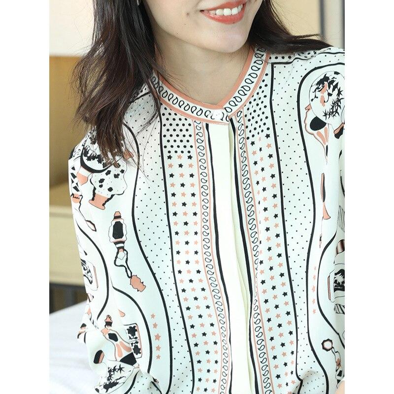 100% echt Silk Bluse Frauen Kleidung 2019 Frühling Sommer Hemd Koreanische Leopard Shirts Elegante Frauen Tops und Blusen ZT2314 - 2