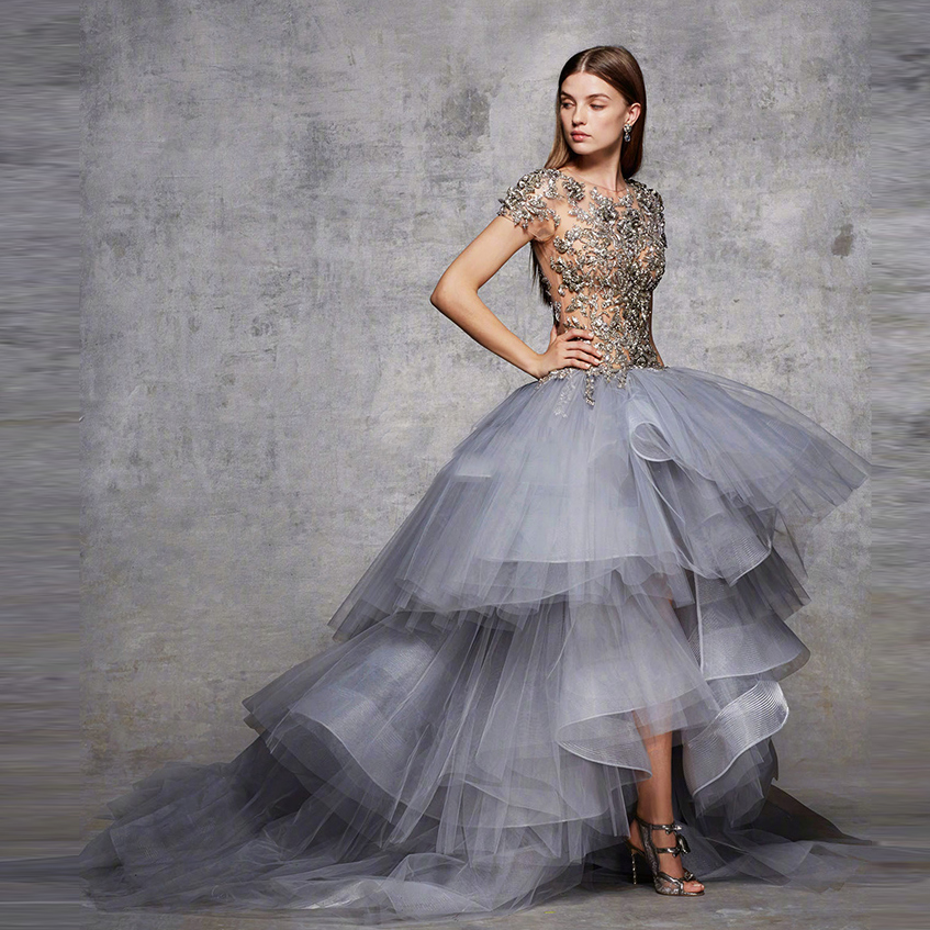 Middle East 2018 High Low Prom Gowns With Sparkle Crystal Ruffles Long Formal Clothing To Party